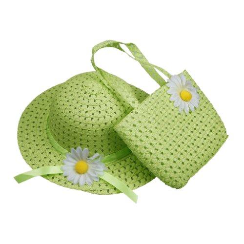 Orien Ensemble chapeau de paille + sac à main pour fille Vert 1-4ans