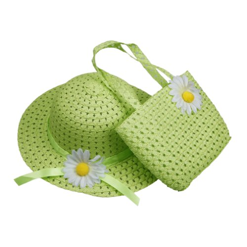 Orien Lovely Kids Girls Children Green Straw Sun Beach Flower Hat Cap Handbag Set For 1-4 yearls old