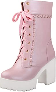 2019 New Boots for Women,Women's Lace Tie High Heel Shoes Sweet Lady Platform High Heel Boots