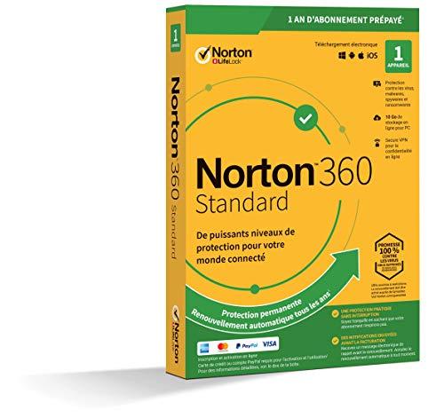 Norton 360 Standard 2020 | Antivirus pour 1 appareil et un an d'abonnement avec renouvellement automatique | Secure VPN et Password Manager | PC/Mac/iOS/Android | Téléchargement