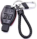 WAFERN Genuine Leather Key Case Cover Shell for Mercedes-Benz 3-Button Keyless Entry Remote Control Smart Car Key Protection Fob Skin Cover Etui with Braided Key Chain & Key Rings in Black