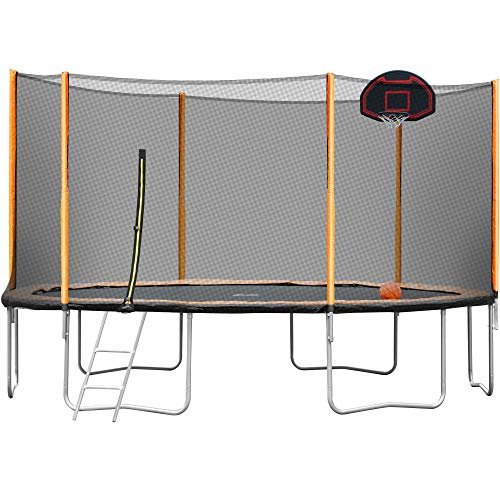 FYU 14FT 16FT Trampoline Weight Capacity 860 LBS for Kids Adults with Safety Enclosure Net, Jumping Mat, Safety Pad, Ladder, Outdoor Trampoline Great (14FT-Orange)