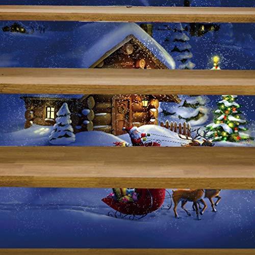 Mode Treppen Aufkleber Live with Ones Familie Dekoration 3D Weihnachten Treppen Aufkleber Seit Paste Personality Isomatte Einfügen Ursprünglichkeit Wand-Aufkleber (Color : 2)