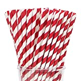 Webake Paper Straws Biodegradable Bulk 144 Red Striped Drinking Straws, Great Alternative Disposable Straws to Plastic Straws Eco Friendly Straw for Valentine's Day Party, Cake Pop Sticks