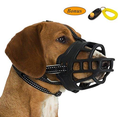 JeonbiuPet Bozal de perro, bozal de cesta ajustable de silicona para perro Anti-masticación y anti-ladridos permite beber y jadeando (Size 5)
