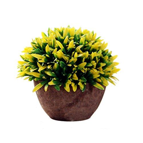Cupcinu Künstliche Blumen, künstliche Pflanzen und Blumen mit Blumentopf, Kunststoff, Grün, mit Baum-Pflanzen-, Outdoor, Indoor Dekoration (15x 13cm), Violett, plastik, gelb, 15*13cm