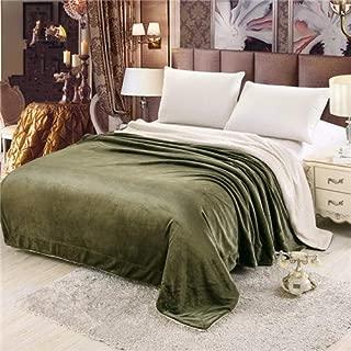 BEESCLOVER Home Textile Winter Flannel Blanket +Berber Fleece AB Side Super Warm Soft Camel Throw on Sofa/Bed/Plane Gray Coffee Bedspread Dark Green 150 by 200cm
