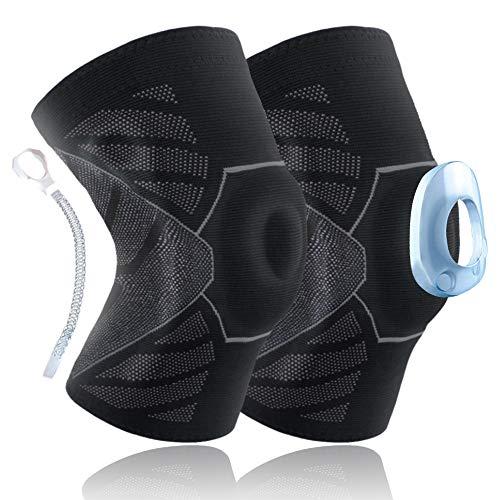 Vivibel Kniebandage Sport, 2 Stück Kompression Knieschoner mit Silikon,rutschfest Atmungsaktiv Elastische Knieschützer Für für Ballsportarten, Leichtathletik, Laufen, Unisex
