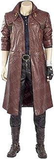 Mens DMC Dant-e Cosplay Costume Maroon Leather Coat Jacket