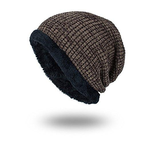 Gorro De Lana De Punto Winter Plus Velvet Warm Outdoor Cap Masculino 26 * 22Cm Caqui