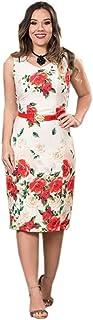 Vestido angelia bege estampa floral sem mangas Montaria Fashion