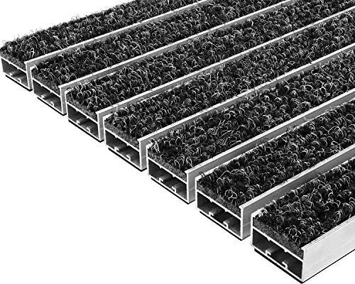 Desan | Alu Fußmatte Ultra Mat | 22mm Aluminium Fußabtreter für Außen und Innen | Türmatte für die Haustür | Schmutzfangmatte in 3 Größen | Anthrazit | Textilrips | 39 x 59 cm