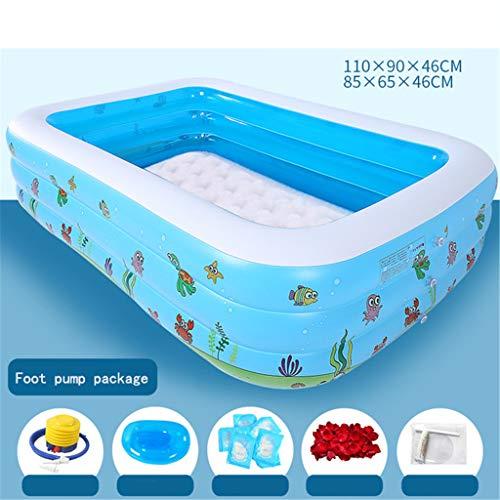 WYFDM Aufblasbarer Pool-Wasser-Spiel-Pool in der Sommer-Kinder aufblasbare Schwimmen Center Familien Swimming Pool-Ball-Pit,Foot Pump Package,1.7M
