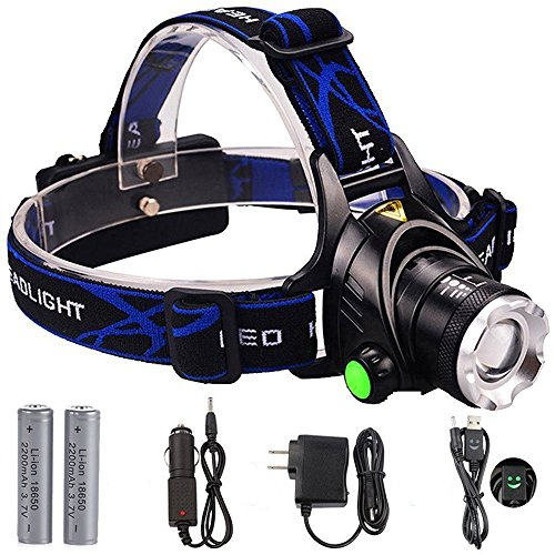 Headlamp, GRDE Zoomable Brightest High LED Work Headlight 3 Modes with 18650 Rechargeable Batteries Flashlight, USB Cable for Camping, Hiking, Outdoors (dark blue)