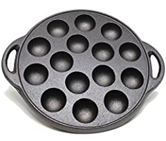 """VERSATILE: Use for making all kinds of bite sized foods, including Poffertjes pancakes, Japanese Takoyaki, or Thai Desserts like Kanom Krok and more! COMPACT: The pan is 9"""" IN DIAMETER and EACH HALF SPHERE IS 1.5"""" DIAMETER and 1"""" DEEP LONG LASTING: C..."""