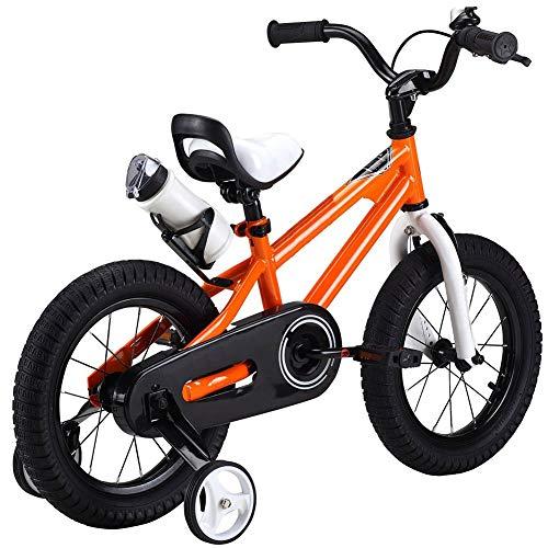 LIERSI Kinderfahrrad 12/14/16/18 Zoll Kid Bike High Carbon Stahl Faltrad 3-8Years Alte Männer Und Frauen Single Speed Stoßdämpfer Fahrrad,Orange,14 inch