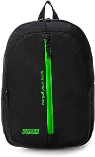 شنطة ظهر يومية للجنسين من فورس - أسود مع سحاب أمامى أخضر وطباعة خضراء