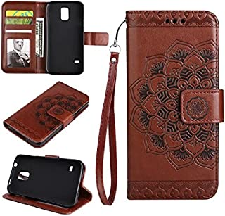 Protective Case Compatible with Samsung Embossed Half Flower Design Wrist Strap Premium PU Leather Wallet Pouch Flip Stand Case Compatible Samsung Galaxy S5 I9600 Phone case (Color : Brown)