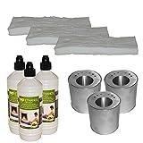 Original Hekers Set 3 Brenndosen inkl. Sparplatte + 3 L Bioethanol + 3 Keramik-Schwämme für Gelkamin Tischfeuer Dekoration Kamin-Deko Bioethanol-Kamin