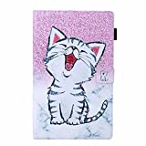 Funda para tablet Kindle Fire HD 10 (7ª generación/9ª generación, versión 2017/2019) – [Protección de esquina] Premium Vegano cuero Folio Cover Cover Stand Cover Cover Auto Wake/Sleep Smile Cat