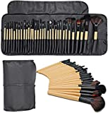 ASDFG Makeup Brushes 32pcs Make Up Brush with High-Gloss Makeup Brush Set with Eye Shadow Brush, Blush Brush, Fan Brush and Eyebrow Comb, Suitable for Travel (Wood Color)