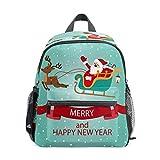 Mochila infantil para niños de 1 a 6 años de edad, mochila perfecta para niños y niñas en el jardín de infancia, trineo de renos de Papá Noel feliz año nuevo