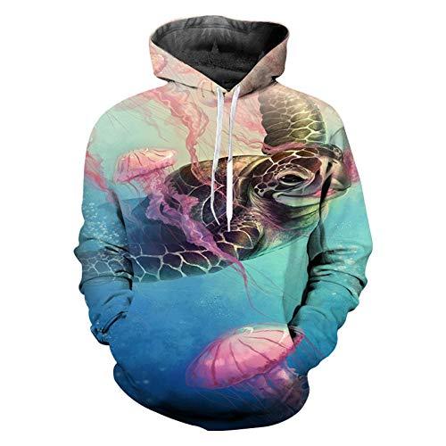 HNKPWY Streetwear Turtles Lange Hoodie Kleding Oversized Sweat Mannen 3D Gedrukt Unisex Sweatshirt