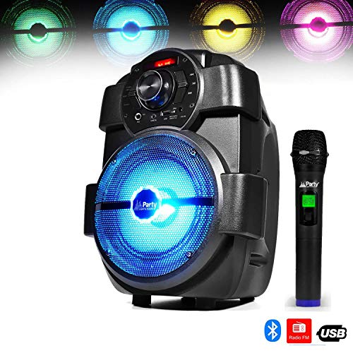 Karaoke mobiele luidspreker, accu, 180 W, met LEDs, USB/Bluetooth/FM + draadloze microfoon