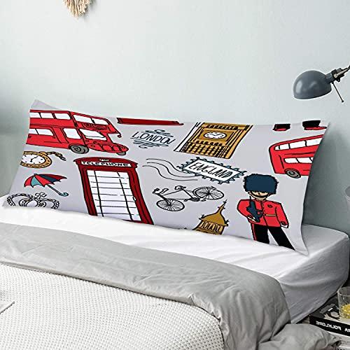 Personalizado Funda de Almohada Larga,Fondo inglés, Icono del Doodle de Londres,Funda de Almohada para el Cuerpo con Oculto Cremallera Cierre Decor del Hogar Sofá para Dormitorio,54' x 20'