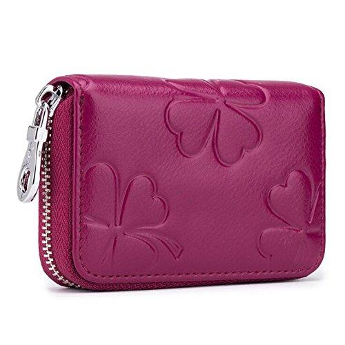 AprinCtempsD RFID Cartera Tarjeteros Mini Mujer Cuero Genuino Monedero Pequeñas Piel Genuino Portatarjetas con Cremallera (Púrpura)