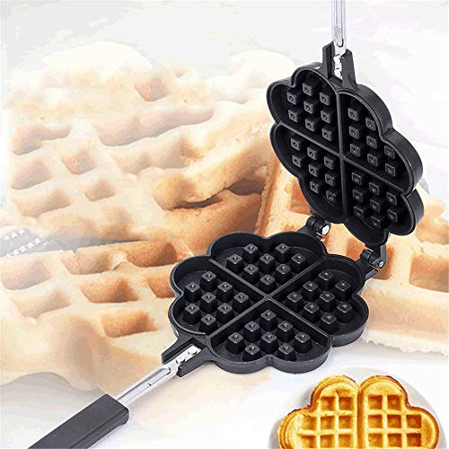 stovetop waffle pans 2 Waffle Iron Maker, VolksRose Non-Stick Aluminum Stovetop Sandwich Panini Cone Cake Heart Shaped Mold Double-Side Cooking Pan Baking Tool Maker Press Plate With Handle Perfect for Kitchen and Outdoor