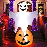 Joliyoou Halloween Blow Up Yard Decoration, 6 FT White LED Lighted Inflatable Pumpkin with A Ghost Floating On, Inflatable Holiday Yard Lawn Garden Decorations for Indoor and Outdoor