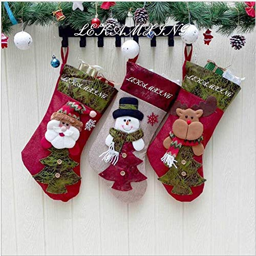 classement un comparer LEHONG Bas de Noël, 3 pièces, chaussettes, joli bas de Noël, bonhomme de neige et cerf du Père Noël,…