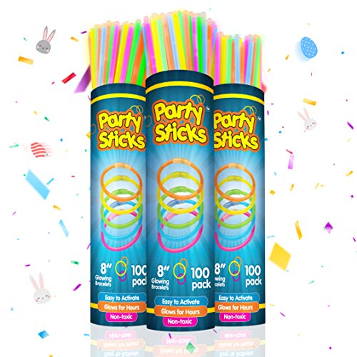 PartySticks Glow Sticks Party Supplies 300pk - 8 Inch Bulk Glow Light Up Sticks Party Favors, Glow in the Dark Party Decorations, Neon Party Glow Necklaces and Glow Bracelets with Connectors