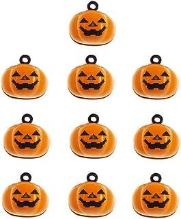 Stock Show 10Pcs/Pack Pumpkin Bells Pet Collar Charm Bells Laughing Cute Yellow Pumpkin Shape Bells Home Party Halloween D...