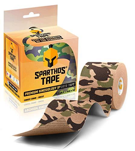 Spartan Tape Kinesiologie-Tape, 6 x Mix Physio-Tape in vielen Farben - Breite: 5,0 cm, Sport-Tape, elastische Bandage für Physiotherapie, Sport, Freizeit und Medizin (Forest Camo)
