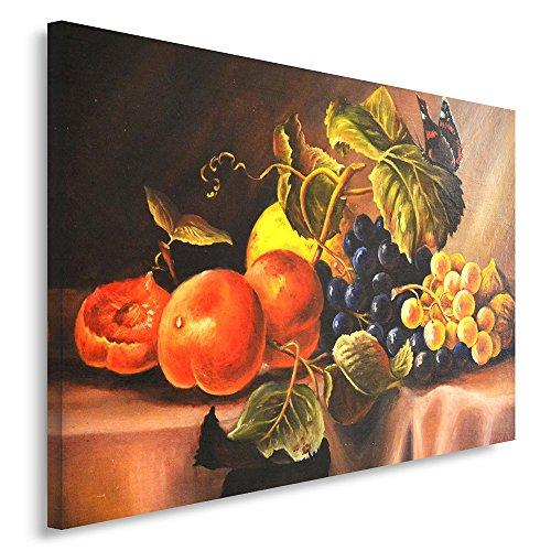 Feeby. Quadro - 1 Parte - 60x80 cm, Pannello Singolo Quadri su Tela Stampa Artistica, Quadro, Natura Morta, Mele, UVA, Rosso, Verde