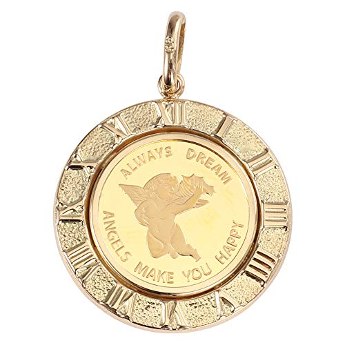 金 K24 ペンダントトップ エンジェル メンズ レディーズ コイン 時計文字 ゴールド デザイン枠