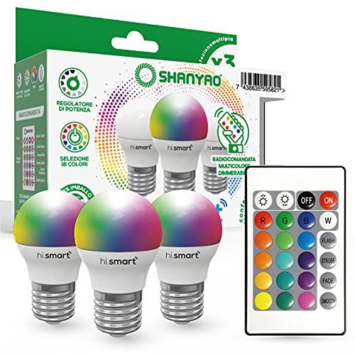 Shanyao - 3 Lampadine goccia G45 LED Hi.Smart attacco E27 5W RGB regolabile con Telecomando