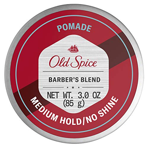 Old Spice Hair Styling Pomade for Men, Medium Hold No Shine, Barber s Blend Infused with Aloe, 3 Ounce