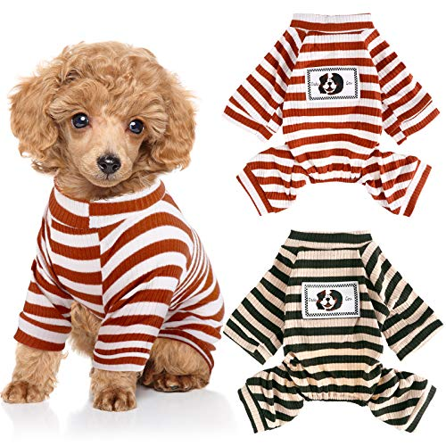 2 Pieces Pet Jumpsuit Puppy Pajamas Soft Dog Pajamas Puppy Rompers Cute Dog Bodysuits for Small Dogs...