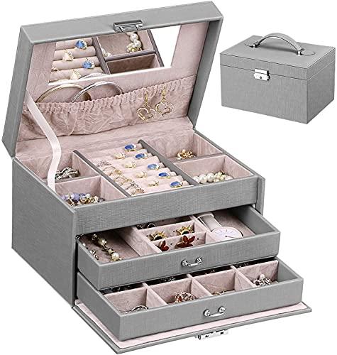 Swadal Joyero de tres capas para anillos, pendientes, collares, joyas, etc. (gris)