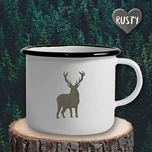 The Manufacture Hirsch Wild Tier Wald Emaille Becher Tasse als Geschenk, weiß Outdoor Ausrüstung