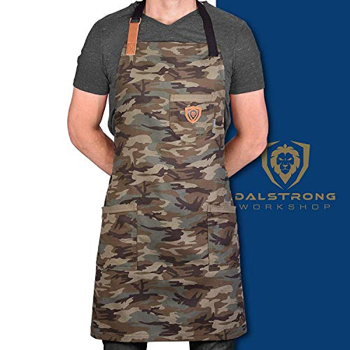 Dalstrong Professional Chef's Kitchen Apron - 4 Storage Pockets - Liquid Repellent Coating - Genuine Leather Accents - Adjustable Straps (The Kitchen Rambo - 100% Poly-Cotton Camouflage)