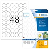 HERMA 4387 Universal Etiketten DIN A4 ablösbar (Ø 30 mm, 25 Blatt, Papier, matt, rund) selbstklebend, bedruckbar, abziehbare und wieder haftende Adressaufkleber, 1.200 Klebeetiketten, weiß