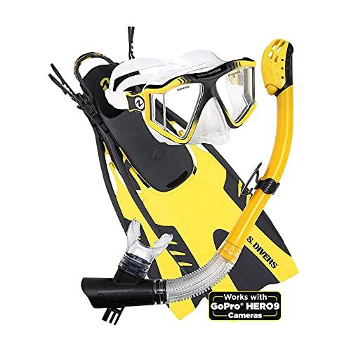 U.S. Divers Lux Mask Fins Snorkel Set Compatible with GoPro