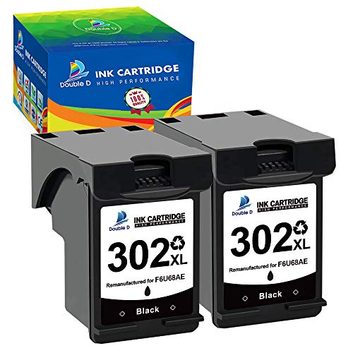 DOUBLE D Remanufacturado 302XL para HP 302 302XL para HP Deskjet 1110 2130 2134 3630 3632 3634 5230 5220 Envy 4520 4521 4522 4523 4524 Officejet 3830 3831 3834 3835 4650 4651 4652 4654 4658 (2 Negro)