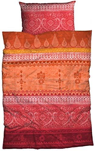 LIVING DREAMS Bettwäsche Indi rot orange 135x200 cm orientalische Ornamente Bordüren Bettwäsche-Set modernes Landhaus Italienischer Flair so hip