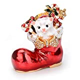 Furuida Trinket Box Boots with Hinged Enameled Jewelry Box Classic Christmas Ornaments Metal Craft Gift for Home Decor
