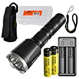 NITECORE CI7 2500 Lumen Tactical Flashlight with 7000mw 940nm Long Range Infrared IR Illuminator and 2x NITECORE NL1835HP Battery, NITECORE UI2 Battery Charger, LumenTac Battery Organizer